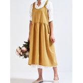 Kadın Günlük Kolsuz Katı Önlük Elbise