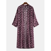 Men's 3/4 Sleeve Thin Long Purple Leopard Long Cape Coats