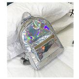 Chic Women Laser Transparent Designer Hologram Backpack School Tote Shoulder