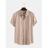 Mens Fashion Stripe Pocket Short Sleeve Casual Shirts