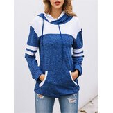 Contrast Color Splice Hooded Women Sweatshirt with Pocket