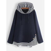 Jacquard Striped Patchwork Button Knit Hooded Sweatshirt