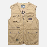 Mens Cotton Multi Pocket Vest Summer V-neck Wasitcoat
