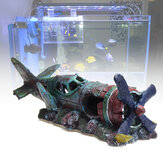 ZANLURE Large Plane Wreck Fish Tank Decoration Resin Aquarium Decorations