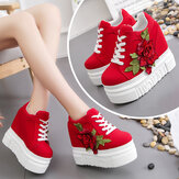 Fashion Women Shoes Female Embroidered Rose Climbing Shoes Ladies 12cm High Heels Thick Bottom Shoes