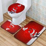 サンタクロース防水ノンスリップバスルームシャワーカーテントイレカバーマットラグセット