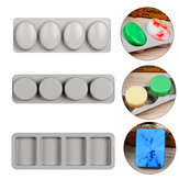 DIY Silicone Soap Mold 4 Holes for Handmade Soap Making Forms 3D Mould Oval Round Square Soaps Molds Cake Mould