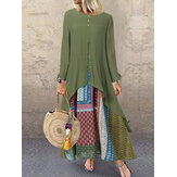 Vintage Ethnic Print Splice Long Sleeve Maxi Dress