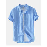 Moda uomo New Solid tinta unita basic maniche corte in lino Camicia