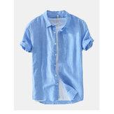 Mens Fashion New Solid Color Basic Short Sleeved Linen Shirt