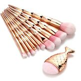 11 STK Mermaid Makeup Brush Set Fishtail Shaped Make Up Tools