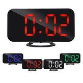 Digital LED Espejo grande Pantalla Alarma Reloj Función de repetición Cargador USB dual