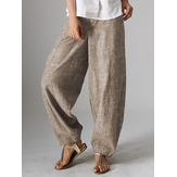 Original              Women High Waist Button Solid Color Harem Pants