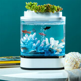 Geometry Mini Lazy Fish Tank Carga USB Autolimpiante Acuario con 7 colores luz LED