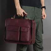 Men Vintage Faux Leather Luxurious Handbag Messenger Bag