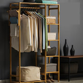 Cabinet Type Bamboo Cloth Rail Rack Hanger Display Rack Shelf Coat Stand Hanging Garment Holder Cabinet