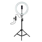 PULUZ PKT3035 10 Inch USB Video Ring Light met 110cm Light Stand Dual Telefoon Clip voor Tik Tok Youtube Live Streaming