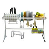 Stainless Steel 2-Tier Utensils Dish Drying Rack Over Sink Drainer Kitchen Storage Shelf
