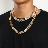 Geometric Square Cuban Chain Necklace With Fancy Diamonds