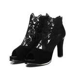 Women Black Mesh Lace Peep Toe High Heel Pumps