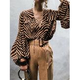 Женская полосатая принт с длинным рукавом Рубашка Свободная свободная блузка