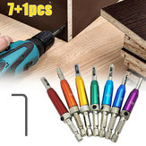 7+1Pcs Door Self-centering Hinge Drill Bit Set Hinge Tapper Screw with Wrench