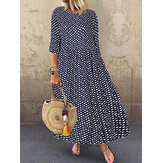 Bohemian Puantiyeli Baskı O-Yaka 3/4 Sleeve Maxi Elbise