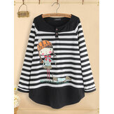 Original              Women Casual Cartoon Print Stripe Patchwork Blouse