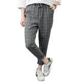 Plaid Print Drawstring Harem Pants