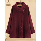 Plus Size Solid Color Button Casual Fleece Sweatshirt