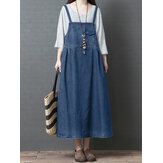 S-5XL Femmes Casual Loose Sleeveless Denim Dress