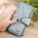 Women Trifold Dull Polish Faux Leather Long Wallet Card Holder Purse