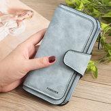 女性三つ折り鈍いポリッシュフェイクレザーロングウォレットカードホルダー財布