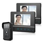 ENNIO Kit de interfone com campainha de vídeo com fio de 7 polegadas Campainha de visão noturna de 1 câmera e 2 monitores