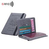 رجال الأعمال سفر RFID مكافحة المسح الضوئي بو الجلود جواز السفر معرف تذكرة بطاقة فتحات حامل هاتف محفظة