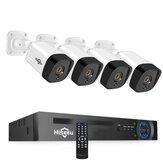 Hiseeu 4Pcs POE H.265+ Security IP Cameras 8CH 5MP NVR Camera System Support Audio Night Vision 10m  IP66 Waterproof Onvif