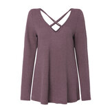 Women Pullover Tops Long Sleeve Cross V Neck Sweaters