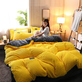 3/4Pcs AB Sided Thicken Corduroy Velvet Winter Bedding Sets Full Queen King Size Duvet Cover