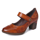 SOCOFY Women Genuine Leather Retro Hollow Pumps