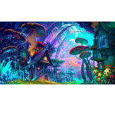 24x36 '' Psychedelic Mushroom Town Art Print Fabric Silk Poster Wall Home Decorations