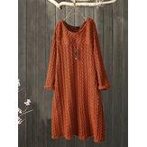 Plus Size Jacquard Rundhals Vintage Strick Kleid