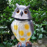 SGODDE Plastik Gerçekçi Baykuş Decoy 360 ° Dönen Kafa Kuşlar Haşere Kovucu Kontrol Korkutmak Karga Bahçe Yard Gerçekçi Kuş Dekorasyon Avcılık Decoy