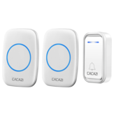 CACAZI A10F Waterproof Wireless Doorbell 300M Remote Door Bell Chime 220V 1 Button 2 Receiver