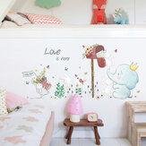 Miico SK7185象とウサギの絵ステッカー子供の部屋と幼稚園の装飾的な壁のステッカー