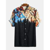 Men Paisley Print Short Sleeve Relaxed Shirts