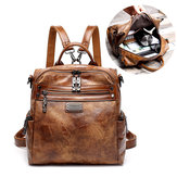 Women Vintage Oil Wax Multi-function Backpack Handbag