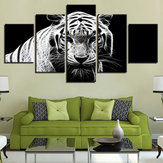 5PCS Modern Home Bedroom Wall HD White Tiger Art Picture Spray Painting Wall Sticker