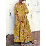 Robe à fleurs lâche à col rond vintage pour femmes