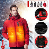 3Modes USB Electric Heated Coats Outdoor Waterproof Men Hooded Heating Jacket Thermal Winter Warm Clothes
