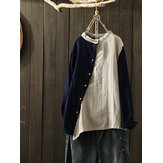 Side Button Crew Neck Two-tone Patch Vintage Blouse